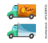 cartoon simple trucks | Shutterstock .eps vector #691308931