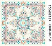 vector ornament paisley bandana ... | Shutterstock .eps vector #691309021