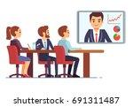 video meeting in office... | Shutterstock .eps vector #691311487
