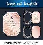 vector laser cut template for...   Shutterstock .eps vector #691312099