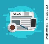 flat vector. news concept.... | Shutterstock .eps vector #691312165
