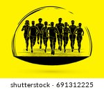 marathon runners  group of... | Shutterstock .eps vector #691312225