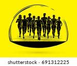 marathon runners  group of... | Shutterstock .eps vector #691312225