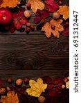 Flat Lay Frame Of Autumn...