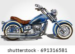 classic vintage motorcycle. | Shutterstock .eps vector #691316581