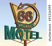 motel old signage vintage metal ... | Shutterstock .eps vector #691316599
