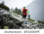 young man in sportswear with... | Shutterstock . vector #691318399