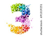 number 3 from  butterfly ... | Shutterstock .eps vector #691319251