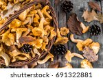 fresh chanterelles mushrooms in ... | Shutterstock . vector #691322881