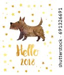 hello 2018 new year. card with... | Shutterstock . vector #691326691