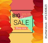 big autumn sale design. vector... | Shutterstock .eps vector #691330825