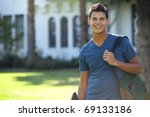 student with skateboard and... | Shutterstock . vector #69133186