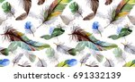 watercolor bird feather pattern ... | Shutterstock . vector #691332139