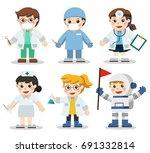 kid set of different medicine... | Shutterstock .eps vector #691332814