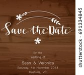 save the date card  wedding... | Shutterstock .eps vector #691334845