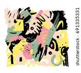hand drawn stylized grunge... | Shutterstock .eps vector #691335331
