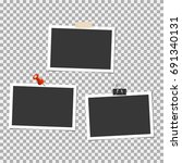 set of photo frame with pin ... | Shutterstock .eps vector #691340131