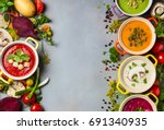 variety of colorful vegetables... | Shutterstock . vector #691340935