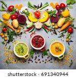 concept of healthy vegetable... | Shutterstock . vector #691340944