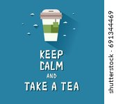 blue poster with a tea cup and... | Shutterstock .eps vector #691344469