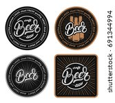 set of coasters for beer ... | Shutterstock .eps vector #691344994