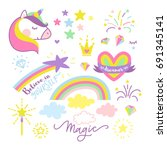 vector illustration  unicorn set | Shutterstock .eps vector #691345141