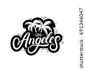 los angeles hand written...   Shutterstock .eps vector #691346047