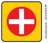 first aid sign yellow. vector. | Shutterstock .eps vector #691349539