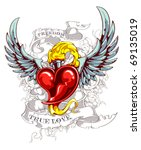 burning heart with wings ...   Shutterstock .eps vector #69135019