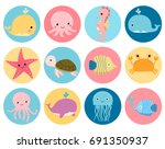 Stock vector cute vector sea animals icons in color circles for stickers and icons for children designs 691350937