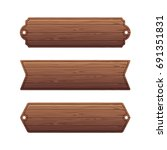 set of various wooden banners | Shutterstock .eps vector #691351831