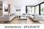 modern bright living room... | Shutterstock . vector #691353679