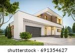 3d rendering of modern cozy... | Shutterstock . vector #691354627