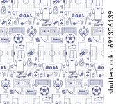 football objects doodle... | Shutterstock .eps vector #691356139