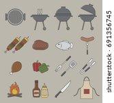 barbecue grill icon   Shutterstock .eps vector #691356745