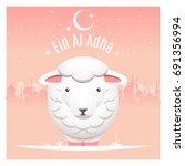 vector illustration of sheep on ... | Shutterstock .eps vector #691356994