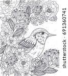 vector linear floral... | Shutterstock .eps vector #691360741