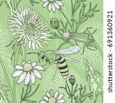 vector floral seamless pattern... | Shutterstock .eps vector #691360921