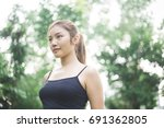 young asian girl doing exercise ... | Shutterstock . vector #691362805