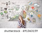 smiling young woman on brick...   Shutterstock . vector #691363159