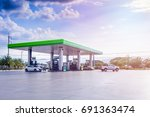 gas fuel station with clouds... | Shutterstock . vector #691363474