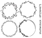 set of decorative frame and... | Shutterstock .eps vector #691364671