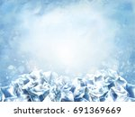 Icy Cube Background  Abstract...