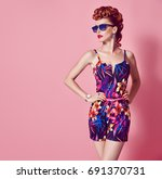 fashion model in sexy jumpsuit. ... | Shutterstock . vector #691370731