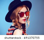 fashion model sexy girl.... | Shutterstock . vector #691370755