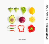 creative layout made of avocado ... | Shutterstock . vector #691377739