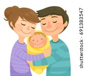 happy young parents hugging a... | Shutterstock .eps vector #691383547