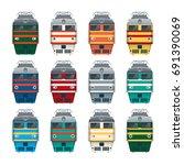 mainline locomotive. front view.... | Shutterstock .eps vector #691390069