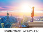 little kid protecting the city... | Shutterstock . vector #691393147