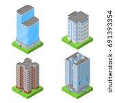 set of isometric block houses | Shutterstock .eps vector #691393354